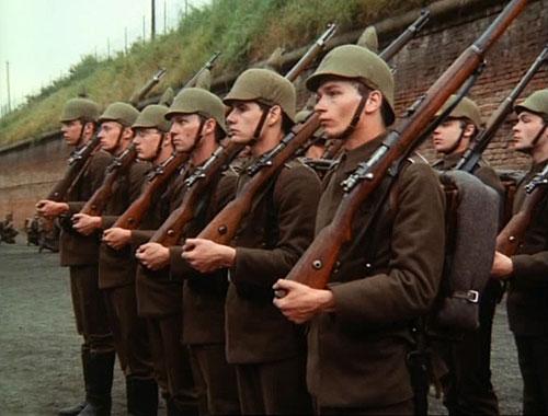 Vojsko v zástupu s puškami - Na Západní frontě